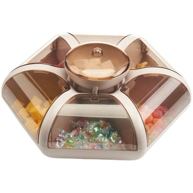 الإبداعية كاندي صندوق الموضة لوتس على شكل غرفة صينية شفافة الضغط نوع صندوق فواكه وجبات خفيفة مقسمة شبكة المجففة صينية للفاكهة