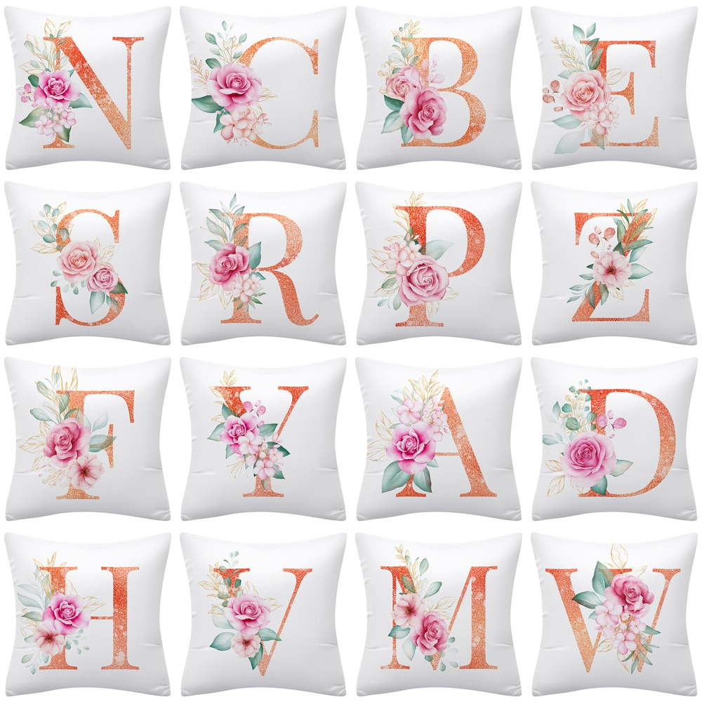 red rose flower heart polyester decorative throw pillowcase i love you letter cushions cover for sofa car valentine s day gift New Flower Letter Decorative Pillow Cushion Covers Pillowcase Cushions for Sofa Polyester Pillowcover Home Decoration Decor