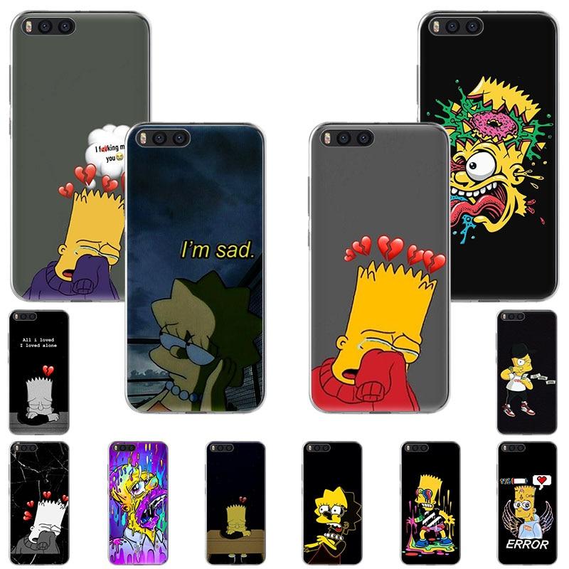 Los Simpson lindo triste modo caja del teléfono de silicona para Xiaomi F1 9T 9 8 SE A3 A2 lite ir 5x Mix3 Redmi K20 K30 7a S2 Nota 8T 5 6, 4, 7,