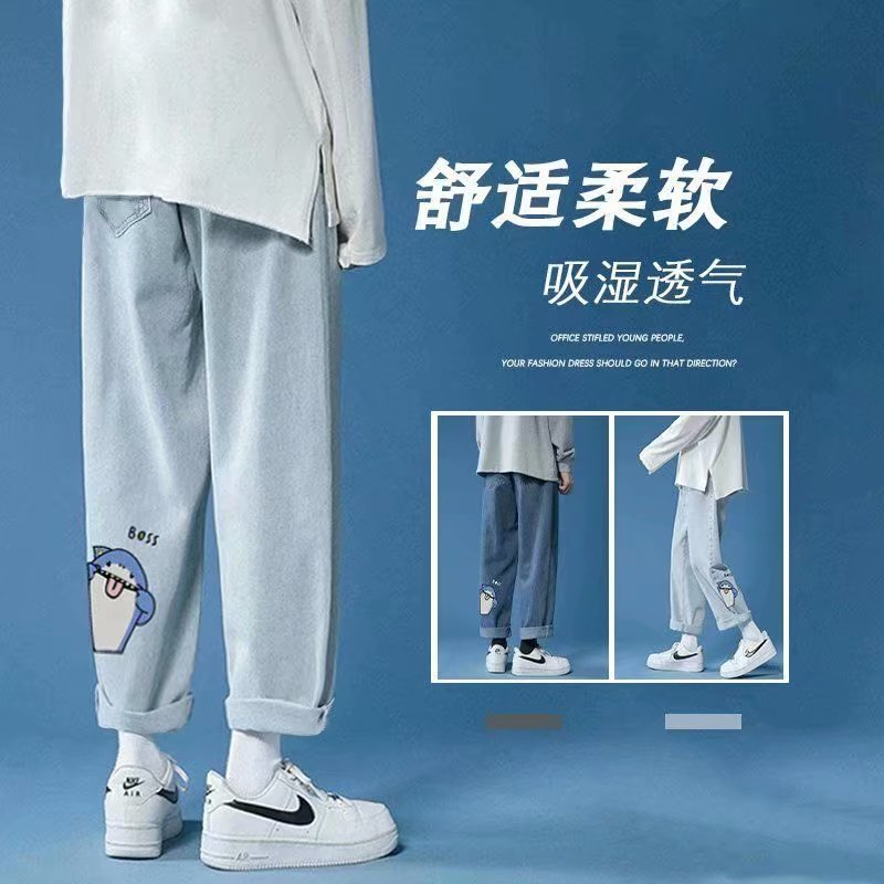 Cartoon print jeans straight leg high waist casual pants джинсы для мужчин брюки мужские ropa hombre denim trousers pantalon2021