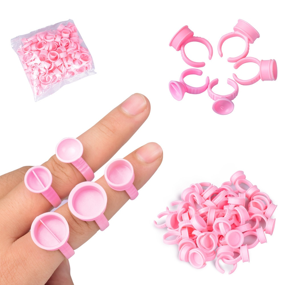 100Pcs Disposable Ring Tattoo Ink Cups Pigment Container Pink Portable Microblading Permanent Tattoo