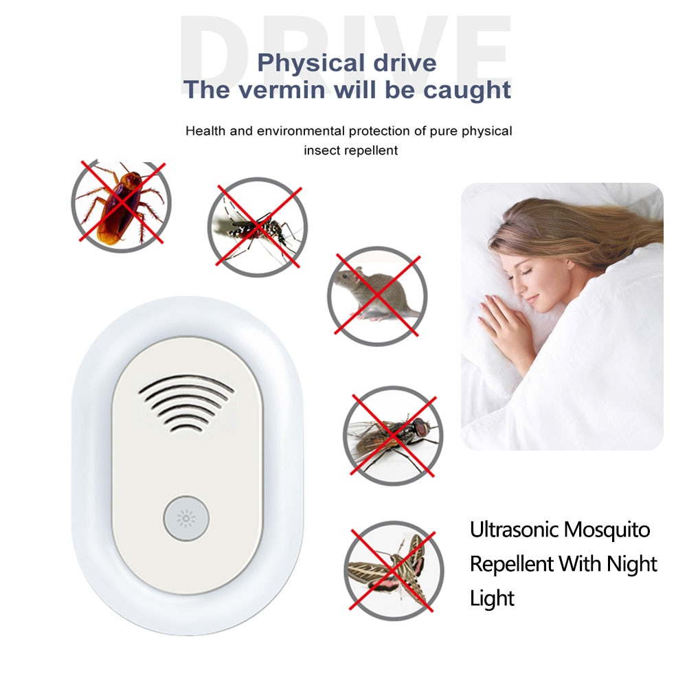 Luz Nocturna antimosquitos eléctrica para interiores, luz de seguridad ultrasónica Mata mosquitos...