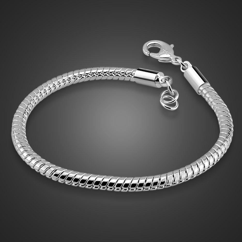 Man sterling silver fashion bracelets 925 pure silver 4 mm 20cm bone snake chain real solid silver bracelets jewelry for men