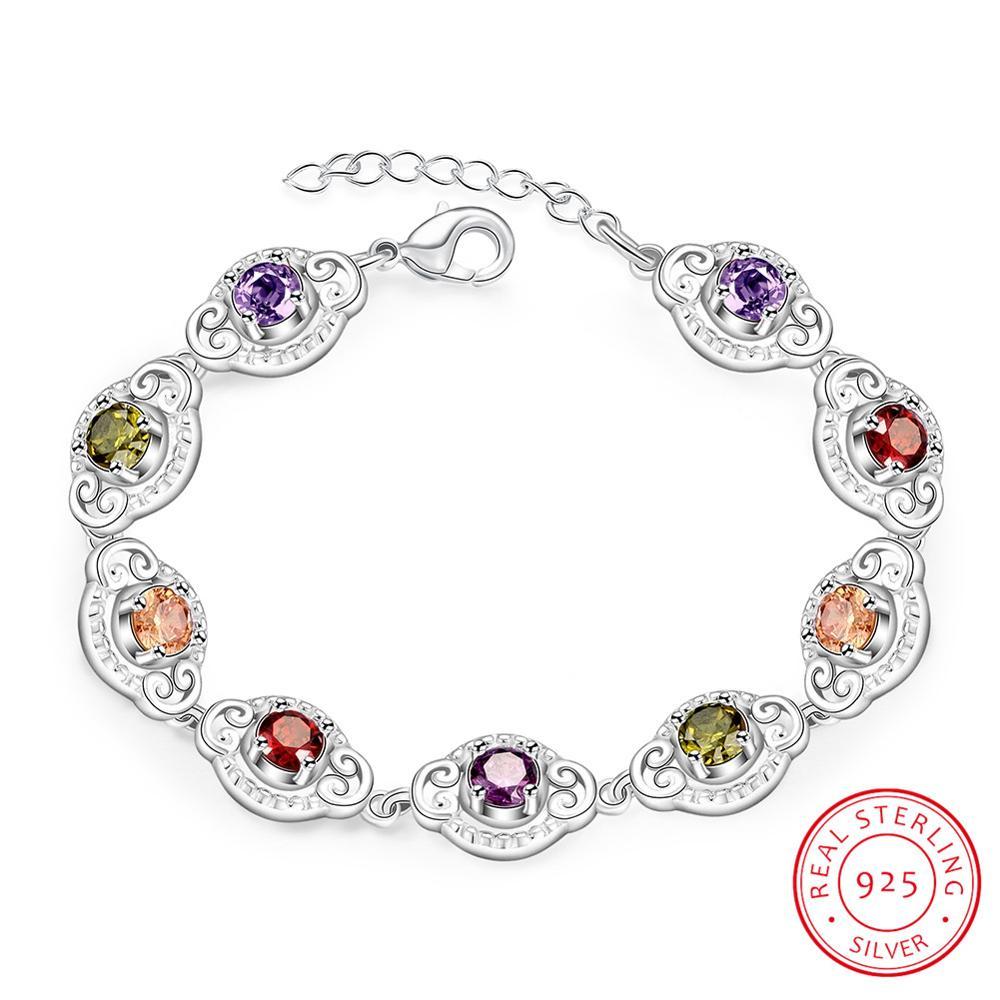 Красивые разноцветные циркониевые браслеты, 925 пробы, серебро, с расширителем, женский, женский браслет, браслет, ювелирные изделия, хит прод...