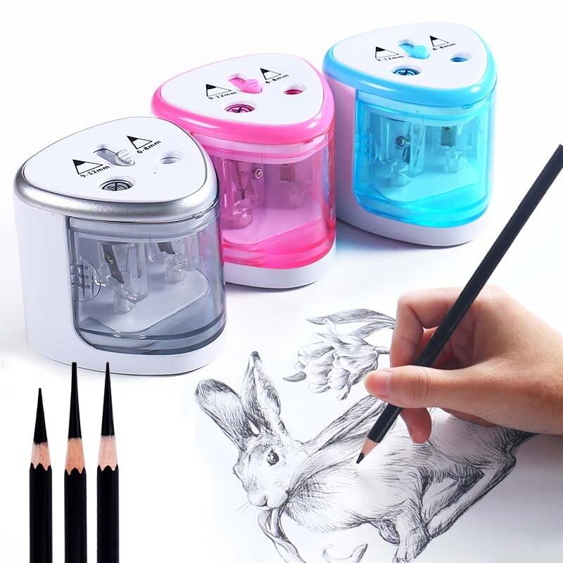 1 Uds., sacapuntas de doble agujero con Interruptor táctil, sacapuntas automático eléctrico para 6-12mm, lápiz de Color, papelería escolar para el hogar