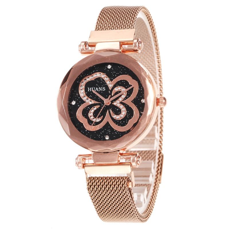 Luxury Ladies Wrist Watch Magnet Fashion Gold Alloy Milan Mesh Belt Starry Sky Rose Flower Diamond F