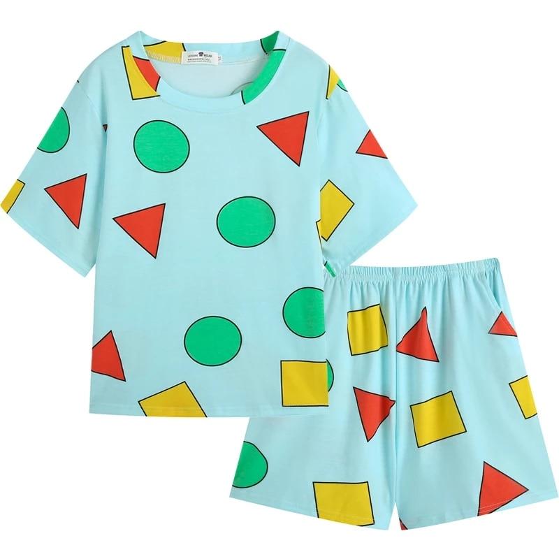 Women Summer Pajamas Set Cartoon Geometric Print Short Sleeve Top and Shorts Pajama Set Plus Size Sl