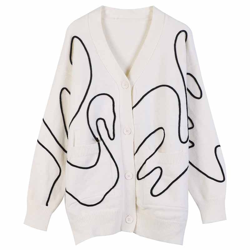 Oversized Cardigan Long Loose Sweater Coat 2020 Autumn Winter New V-Neck Single Breasted Plus Size Cardigan Sweater enlarge