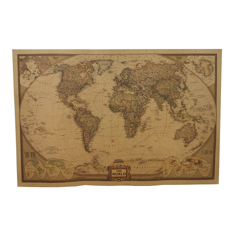 1 Pcs 72.5X47cm Student school stationery education style event decoration poster Not acratch off world map poster wall maps