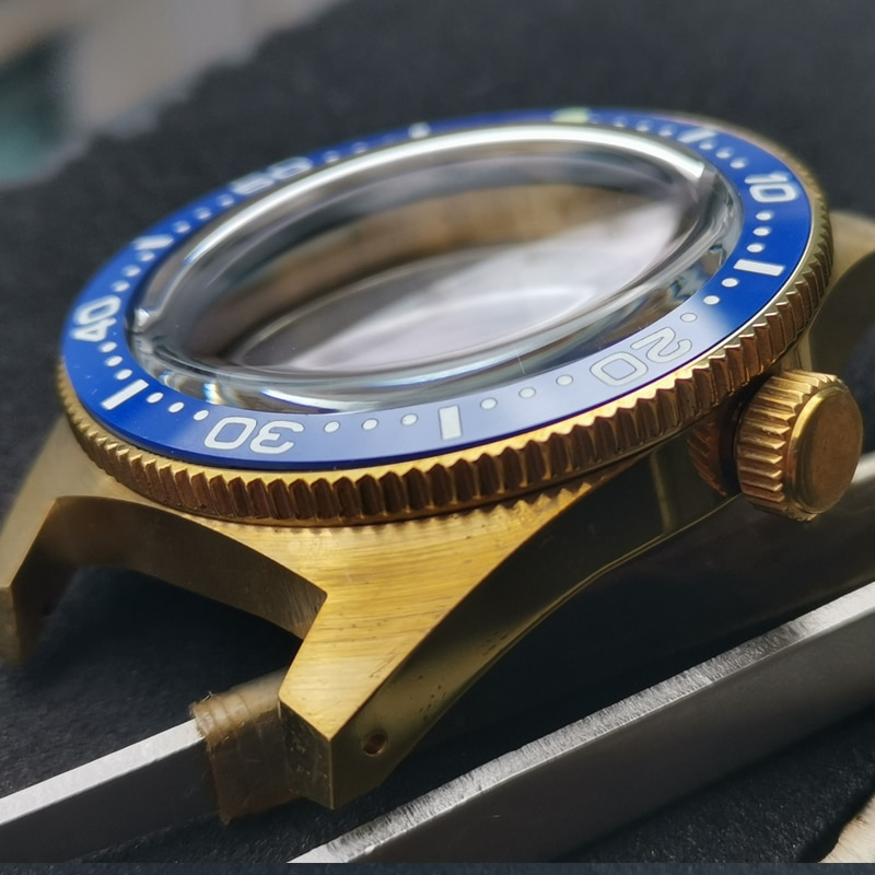 Resistência à Água Adequado para Japão Sólido Bronze Assista Case Moldura Cerâmica 300m Cristal Mineral Nh35a – Nh36a Movimento 62mas