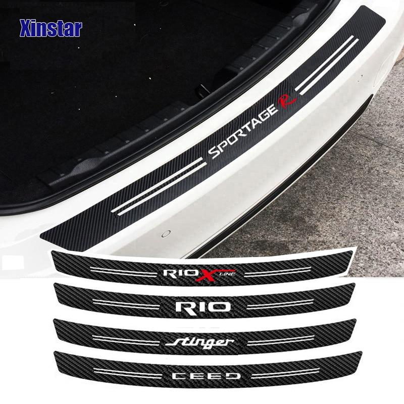 Автомобильная Защитная Наклейка на задний бампер из углеродного волокна для kia rio x-line sportage R Stinger Venga ceed soul