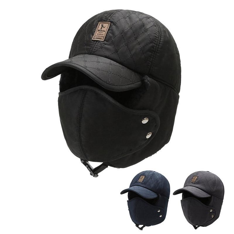 Windproof Warm Hat 1PCS Men Women Bomber Faux Fur Ear Flap Hat Cap Winter Ski Trooper Trapper Solid