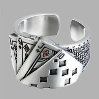 100 925 sterling silver personality fashion poker hip hop lady ring jewelry best gift women never fade drop shipping