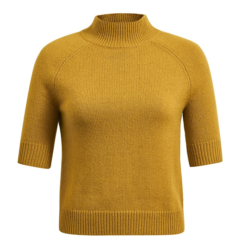 Tailor Shop Custom Made All Cashmere Pure Cashmere Sweater Women's Cigarette Tube Half High Neck Sleeve Thin Knit enlarge