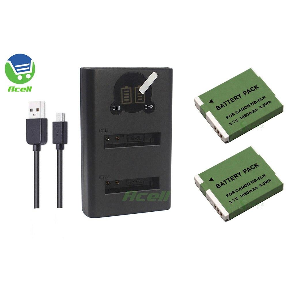 Batería de NB-6LH + cargador Dual USB LCD para Canon PowerShot SX520...