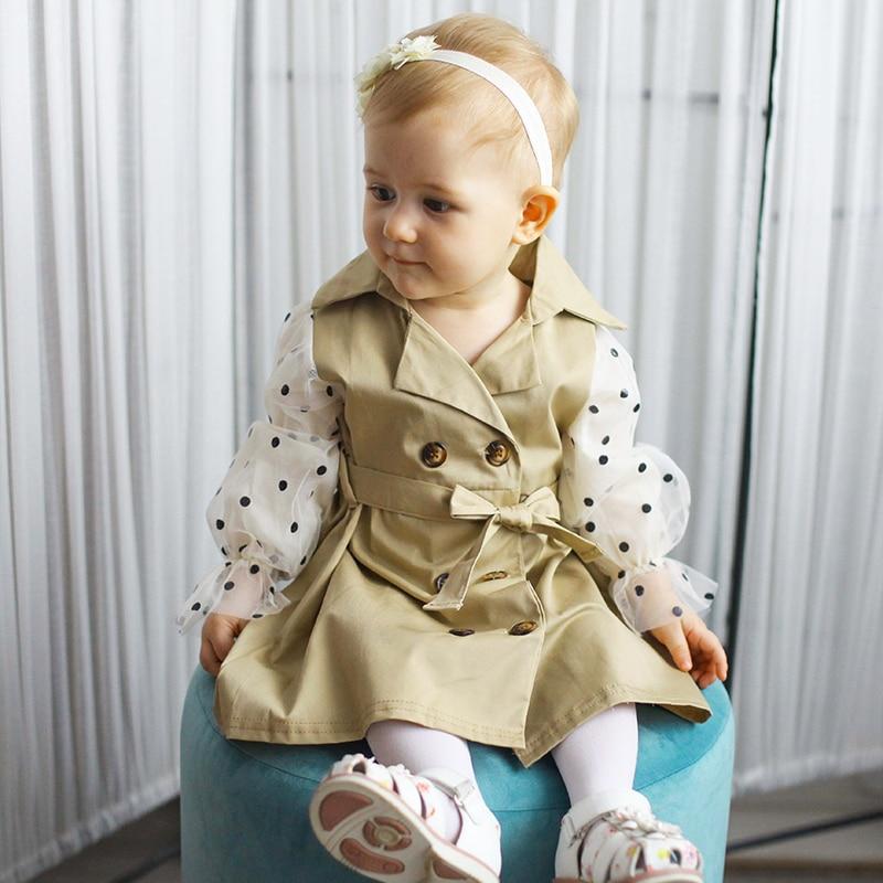 Spring Baby Girls Double-breasted Dress Children Polka Dot Gauze Casual  Long Sleeve Children Vestido