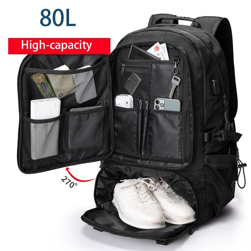 80L 60L الرجال في الهواء الطلق على ظهره تسلق حقيبة للسفر الرياضة التخييم المشي لمسافات طويلة على ظهره حقيبة مدرسية كبيرة حزمة للذكور جديد