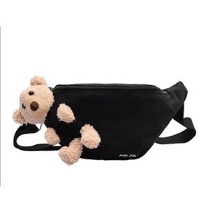 Female bag canvas small bag chest bag female 2020 new fashion bear pendant girl messenger bag casual waist bag shoulder bag
