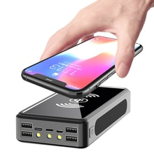 50000mAh Power Bank Solar Wireless Portable Phone Fast Charging External Charger 4 USB PoverBank LED