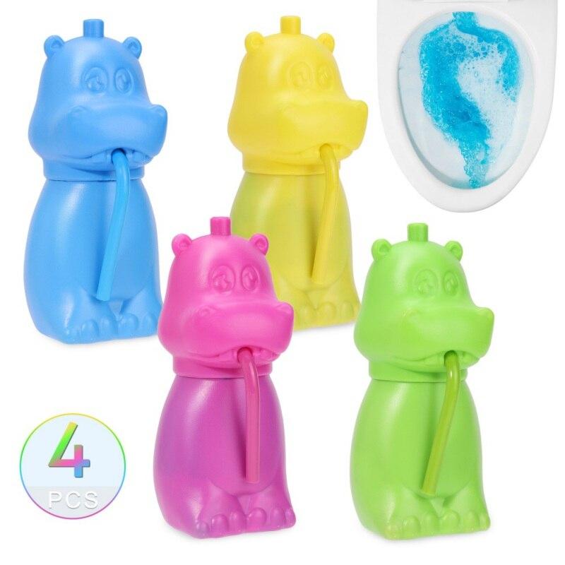 4 Uds taza de inodoro automática limpiador de forma Linda hipopótamo tanque de limpieza blanqueador y limpiador de inodoro azul con burbujas x