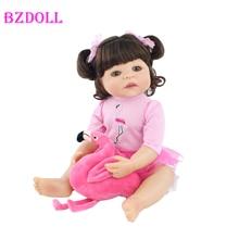 55cm pełna silikon Reborn Baby Doll zabawki dla dziewczyna noworodka różowa sukienka księżniczka maluch żywe niemowlęta realistyczne Bebe klasyczne Boneca