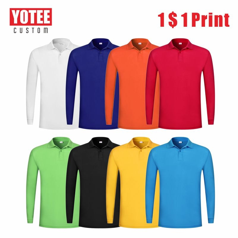 YOTEE2020 New Breathable Cheap Long Sleeve Polo Shirt Personal Group Custom Embroidery Men's Long Sleeve Polo Shirt Cheap