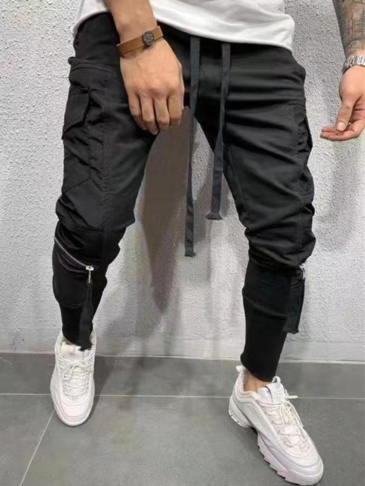 Novo Bolso com zíper calças costura estilo dos homens calças moda casual calças da trilha dos homens T362