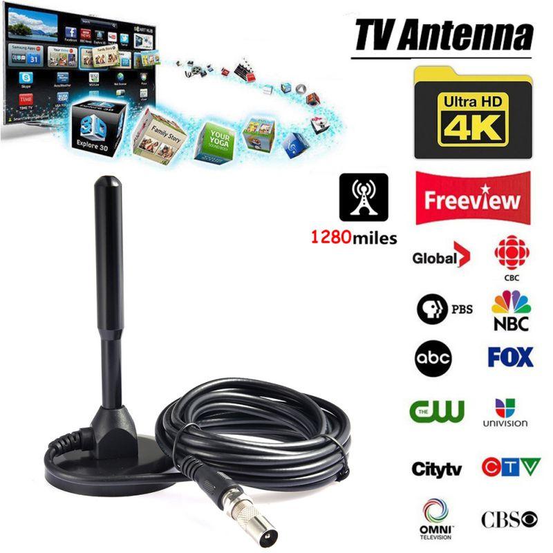 Antena de TV de 1280 millas, HDTV, amplificador de señal Digital análogo para receptor DVB-T, PC, portátil, ordenador, antena de televisión