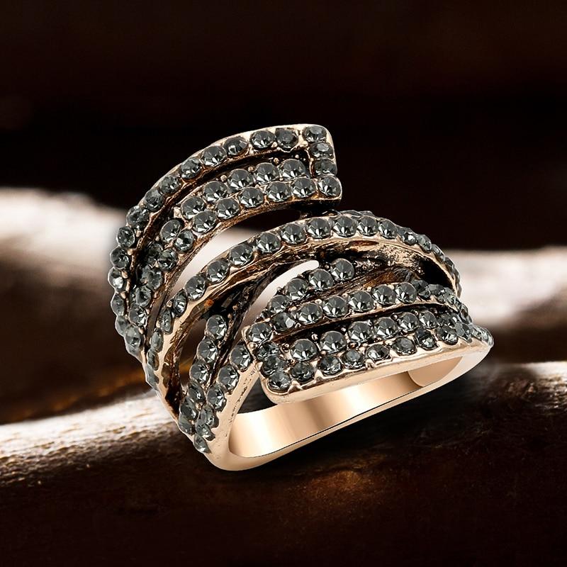 Kinel 2020 nouveau Unique Antique or gris cristal anneau pour les femmes fête accessoires mode Vintage bijoux de mariage