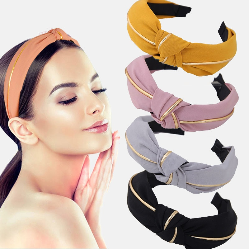 Bandas para pelo para mujer de un Color, joyería de nudo cruzado con lazo ancho dorado, diadema deportiva para chica con banda para el pelo de lavado de cara