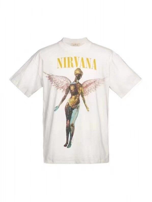 Nirvana t-shirt men's angel t shirts Casual Short Sleeve retro hip-hop top Kanye west fashion street