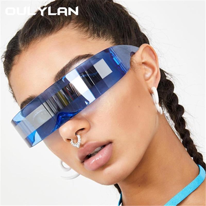 Oulylan футуристический обертывание вокруг очков Солнцезащитные очки для женщин уникальное зеркало розовый синий прозрачные линзы очки мужские вечерние маски солнцезащитные очки