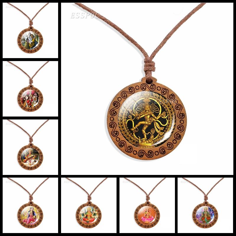 Dancing Shiva Pendant Necklace Hindu Deity Spiritual Amulet Wax Rope Labradorite Necklace Handmade Wooden Jewelry