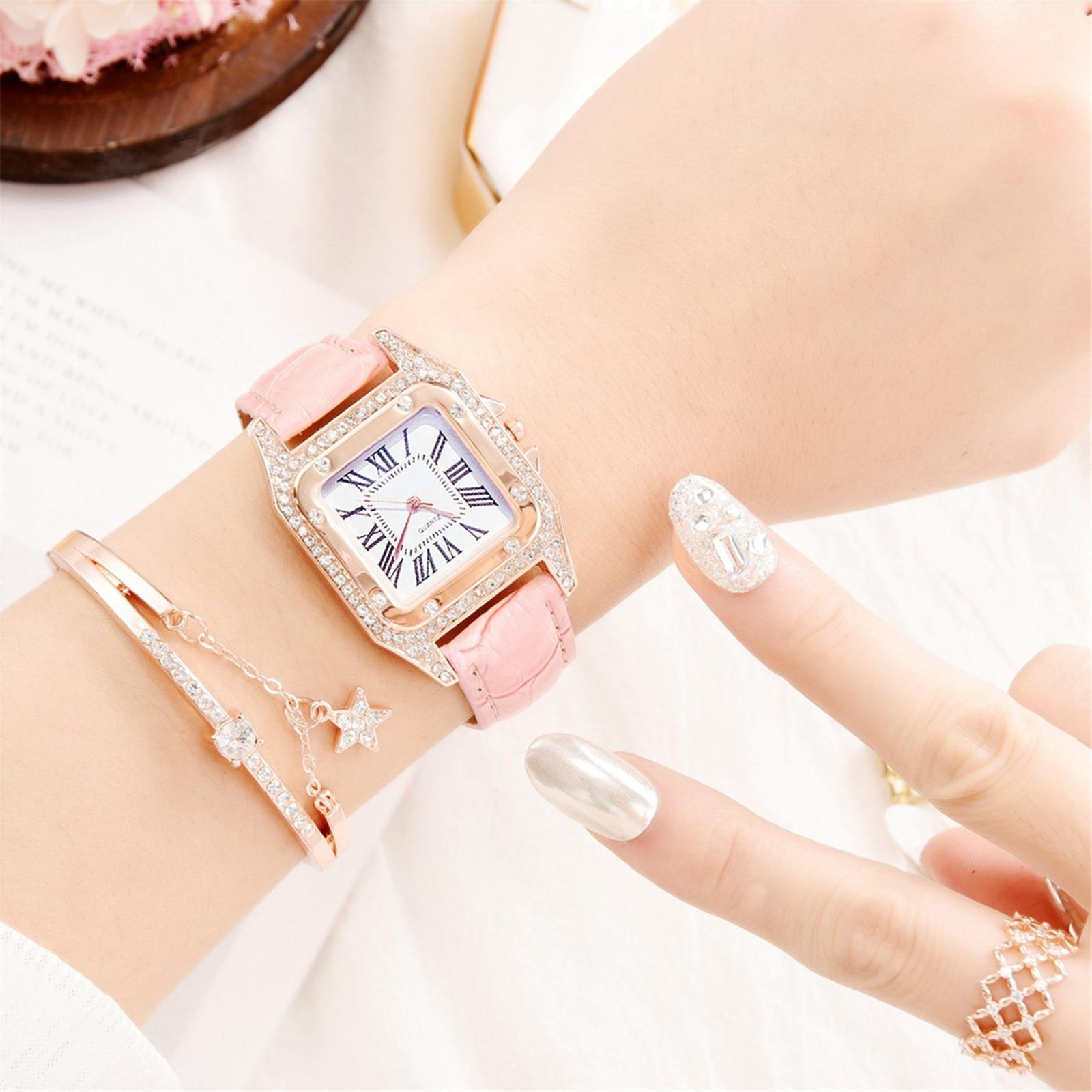 1 X Watch 1 X Bracelet Diamond And Star Bracelet Quartz Watch Set Best Gift For Girl Friends Family