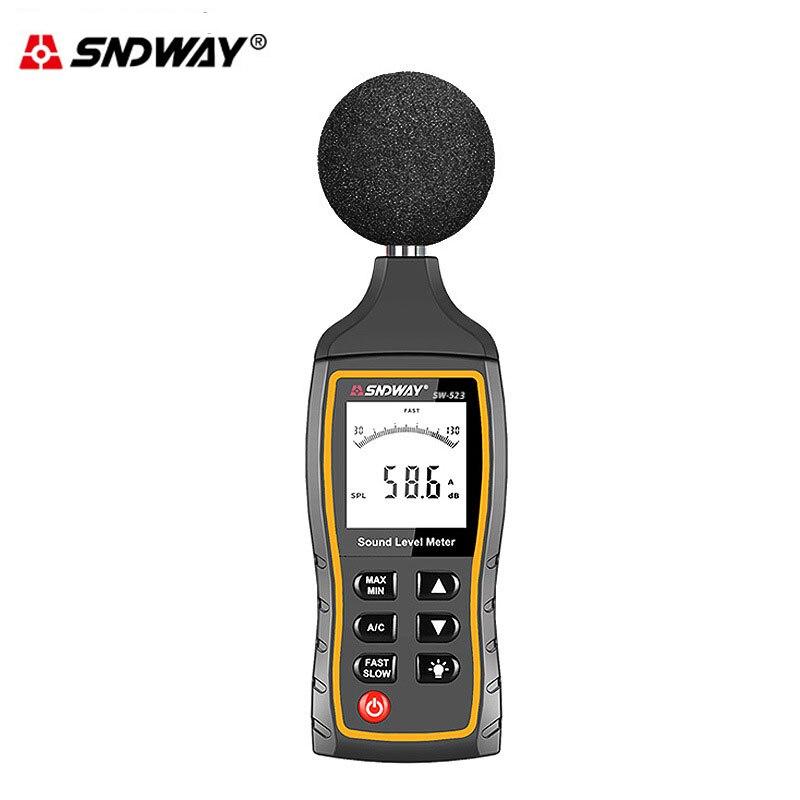 Medidor de Ruído Medidor de Som Ferramenta de Medição Sndway Monitor Display Dosímetro Detector Ruifo Automotriz Nível 30-130dba Decibel