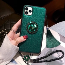 مع 360 الماس الهاتف الدائري الأخضر حجر الراين حزام شرابة حقيبة لهاتف أي فون 11 برو ماكس X XR XS 6 6s 7 8 Plus حافظة بريق بلينغ