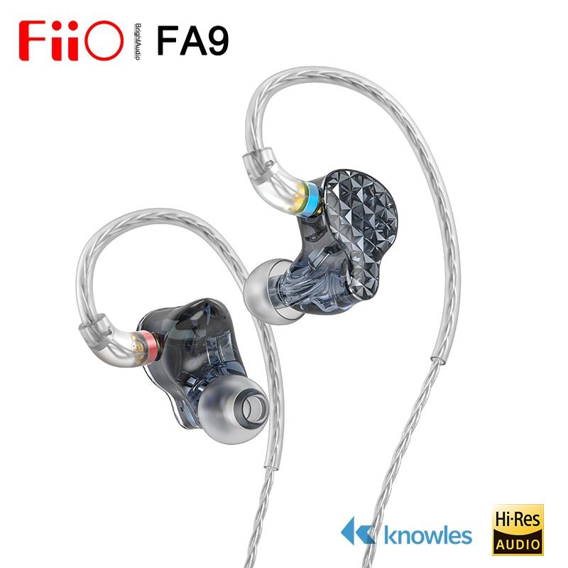 FIIO FA9 Hi-res 6 Ноулз сбалансированные арматурные наушники в ухо IEM, 80,6 мм ультра-длинная звуковая трубка 4-полосный электронный кроссовер, MMCX