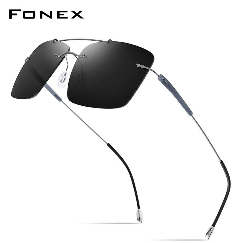 FONEX التيتانيوم سبيكة TR90 بدون إطار النظارات الشمسية الرجال 2020 جديد خفيفة بدون إطار مربع النساء نظارات شمسية مستقطبة للرجال 20009
