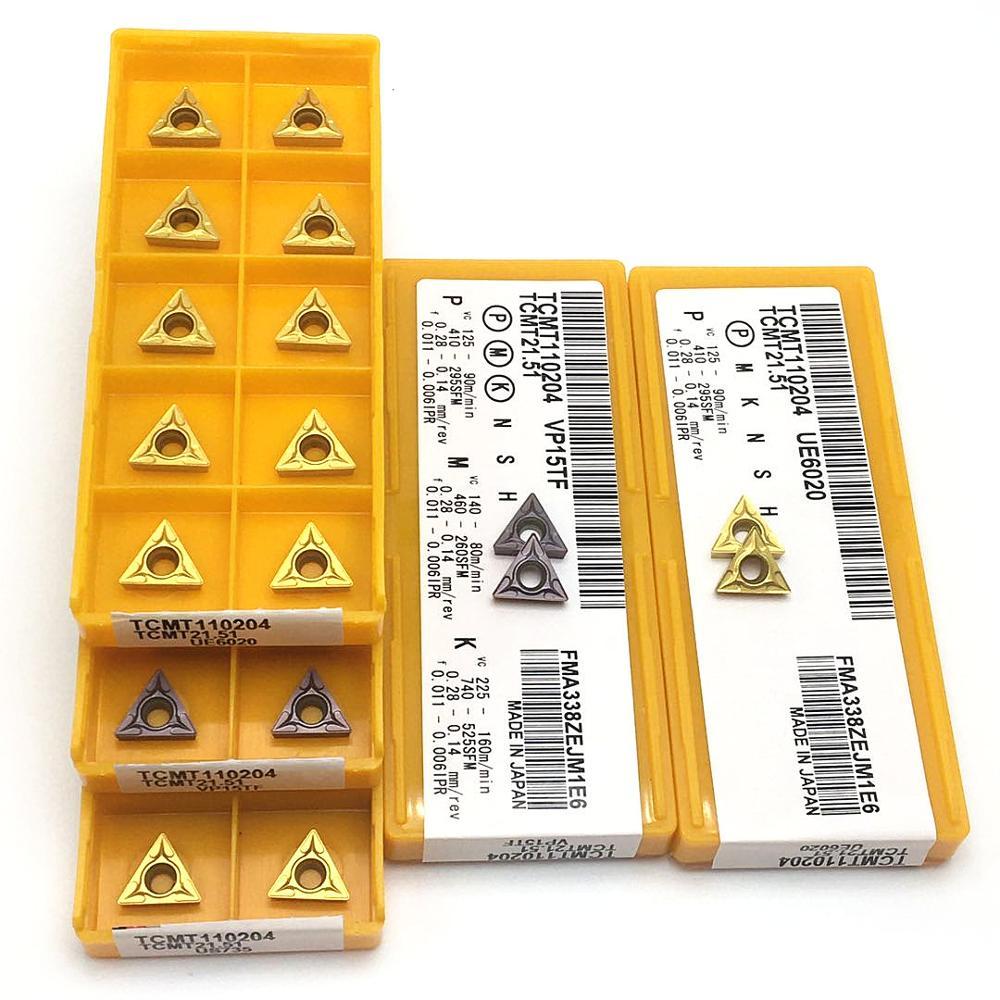 Carboneto tcmt110204 vp15tf tcmt110204 ue6020 torno peças ferramentas cnc transformando inserção pvd + revestimento cvd