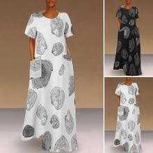 2020 модный сарафан VONDA с принтом женское летнее платье макси повседневные платья с коротким рукавом женские платья с круглым вырезом женское...