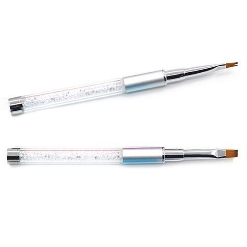 hot Women Nail Tools Nail Art Pen Acrylic Handle Rhinestone Nail UV Gel Salon Flat Brush