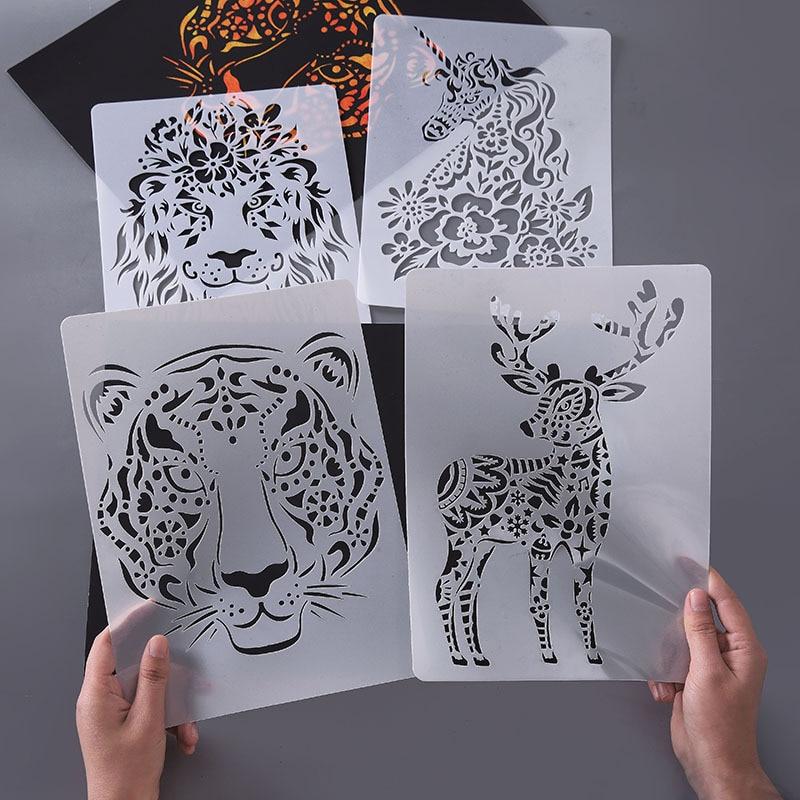 Ручная учетная запись Diy шаблон для гравировки животных шаблон для рисования креативная кружевная линейка Индивидуальный шаблон для рисов...