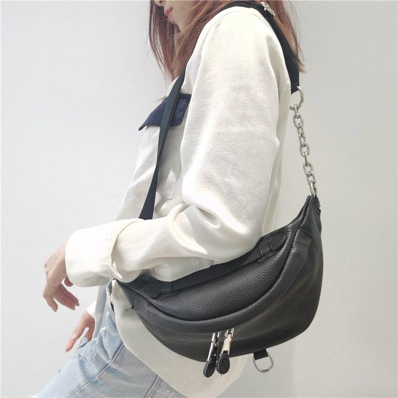 Women's Crossbody Bag 100% Genuine Leather Pillow Messenger Bag Casual Vintage Ladies Shoulder Bags Fashion Handbag