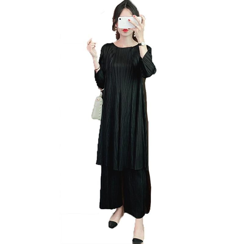 POPOLLE Folding Folding Suit Women's Autumn New Hong Kong Style Fashion Two-piece Long Top + Folding Pants Folding Casual Suit