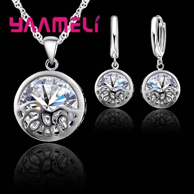 Новое поступление, ювелирные наборы из стерлингового серебра 925 пробы с кристаллами для свадебных аксессуаров, элегантные женские ожерелья...