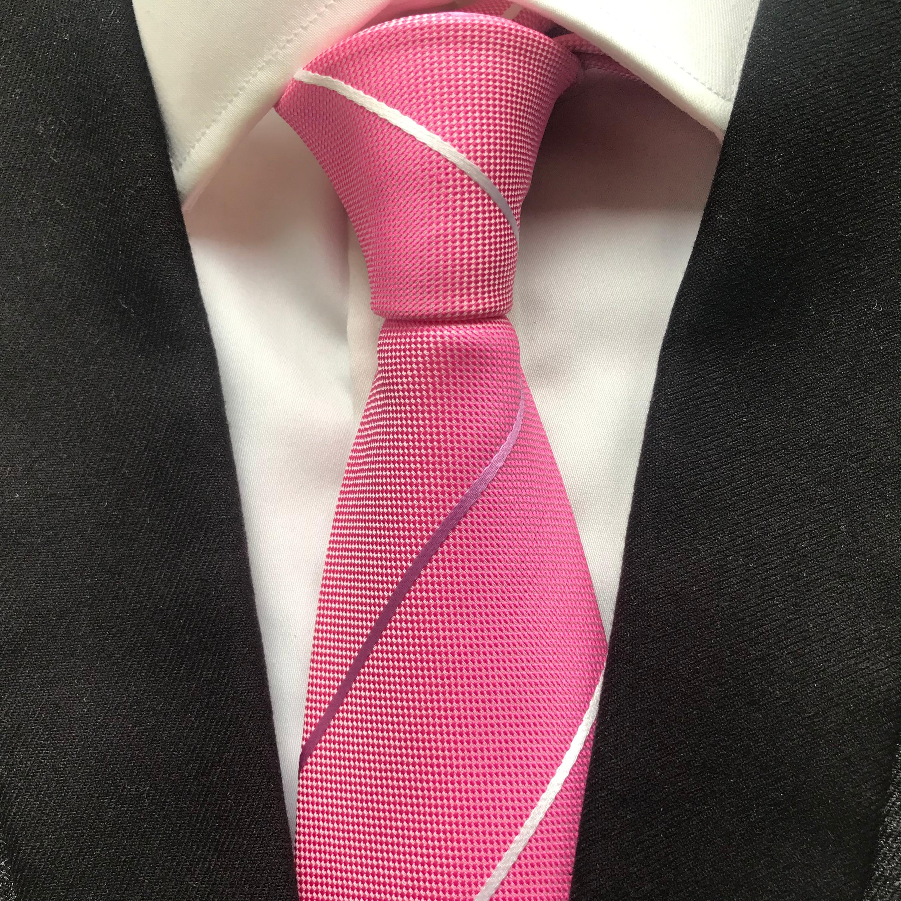 Мужской галстук в розовую полоску, ширина 10 см