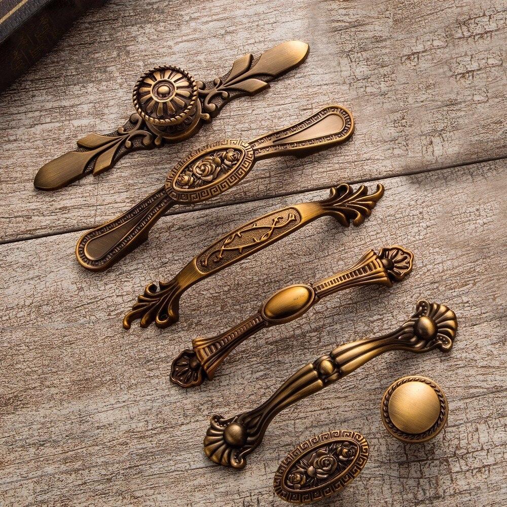 Желтые бронзовые дверные ручки, благородные антикварные ручки для ящиков, винтажные ручки для кухонного шкафа и ручки, ретро мебельные ручки Ручки шкафа      АлиЭкспресс