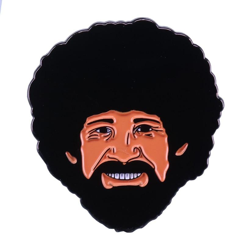 Pin de esmalte feliz Bob Ross, joyería de artista pintor