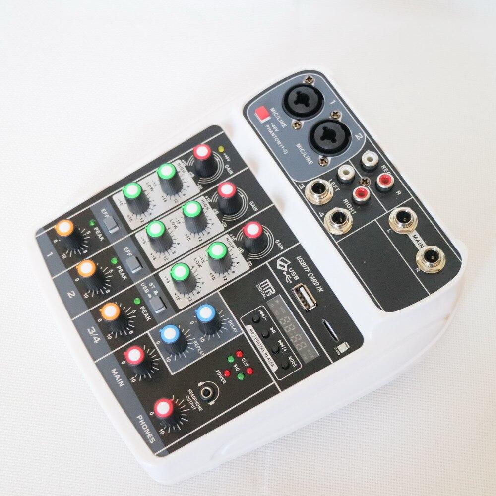 الجيل الجديد MG4 الأبيض خلاط 4 قناة بلوتوث وحدة التحكم خلط الصوت USB الكمبيوتر المحمول لايف DJ كاريوكي المعالج