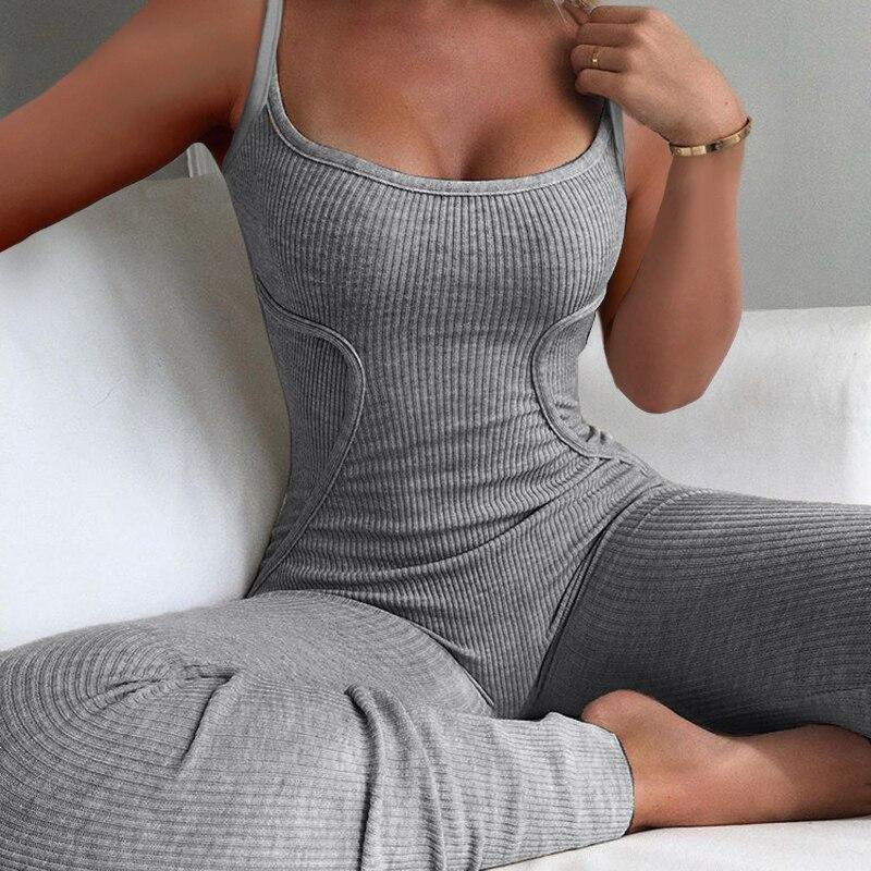 Женская пикантная домашняя пижама, длинные брюки, женская одежда с низким U-образным вырезом, без рукавов, ленточный наряд, женские комбинез...